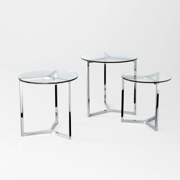 Tab Round Glass and Metal Coffee table by Gallotti & Radice
