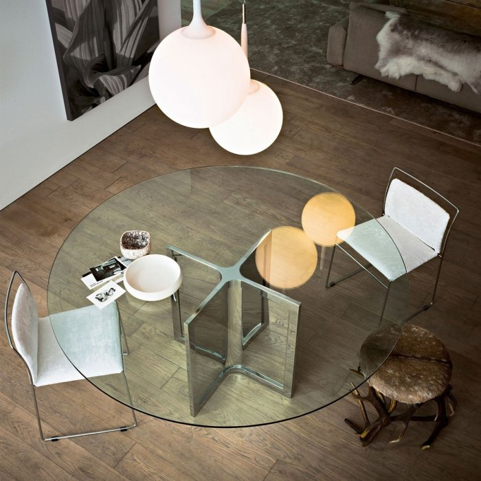 Raj 4 Glass and Metal Table By Gallotti & Radice