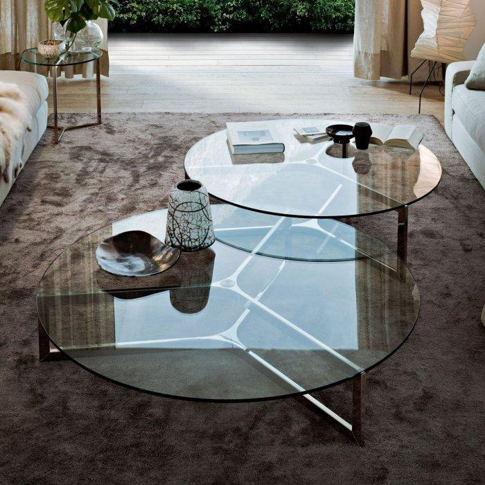 Raj Circular Glass and Metal Coffee Table by Gallotti & Radice