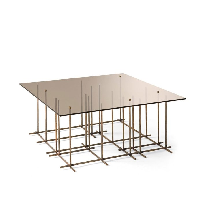 Tetris Glass and Metal Coffee Table by Gallotti & Radice