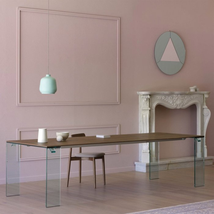 aria glass and wood dining table