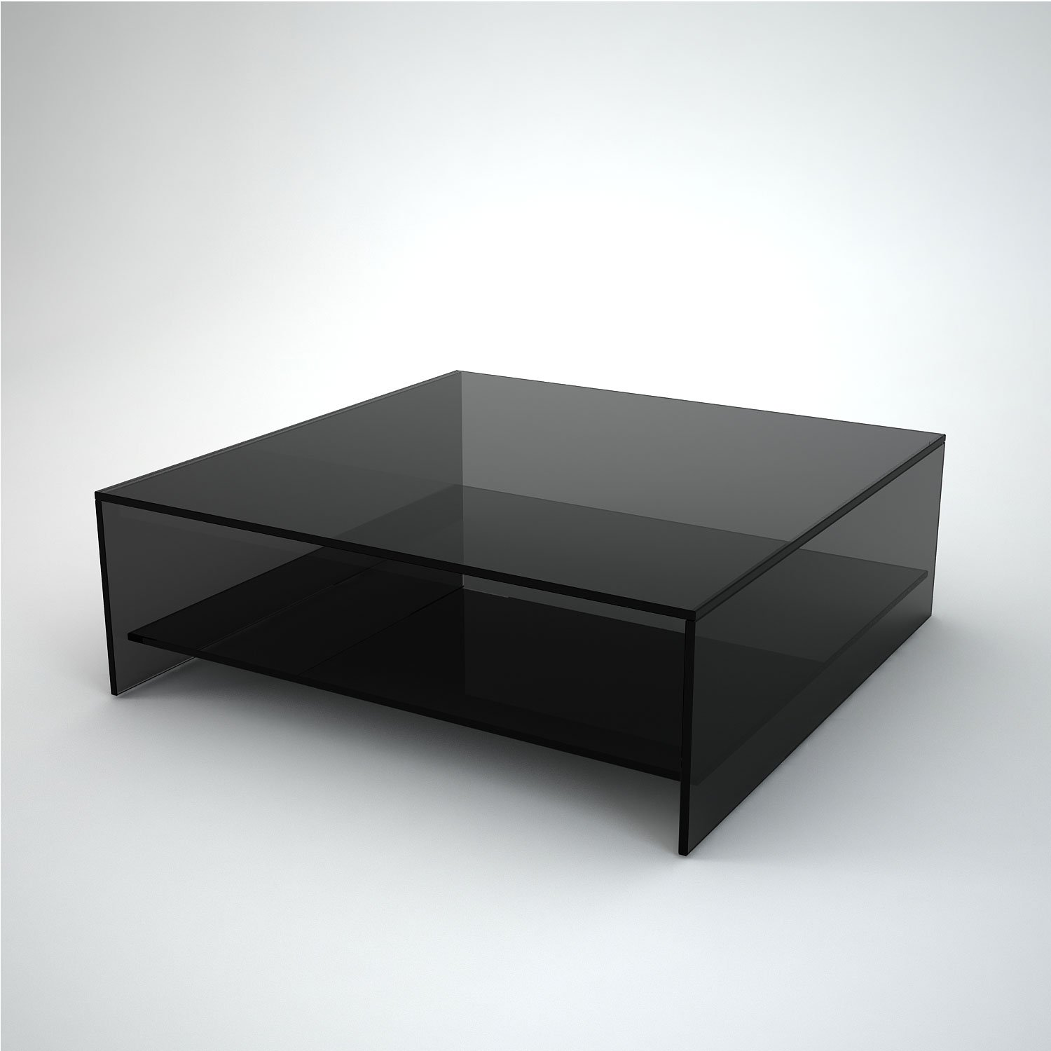 Set Of 2 Square Design Nesting Coffee Tables Made Of Black: Square Smoked Glass Coffee Table With Shelf