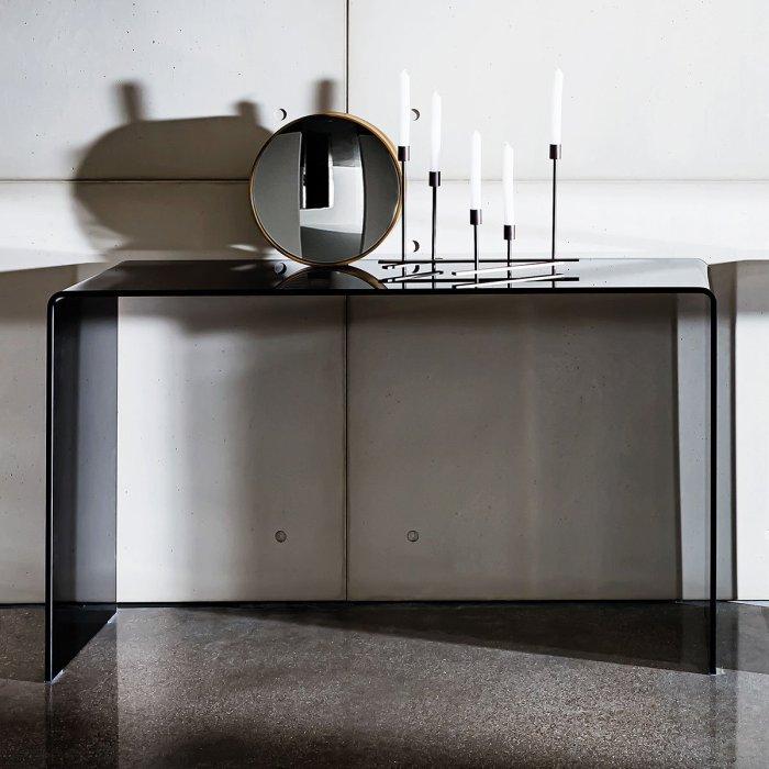 black glass hall table