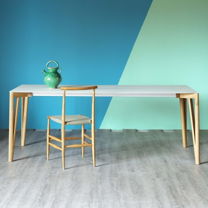decapo wood and glass dining table