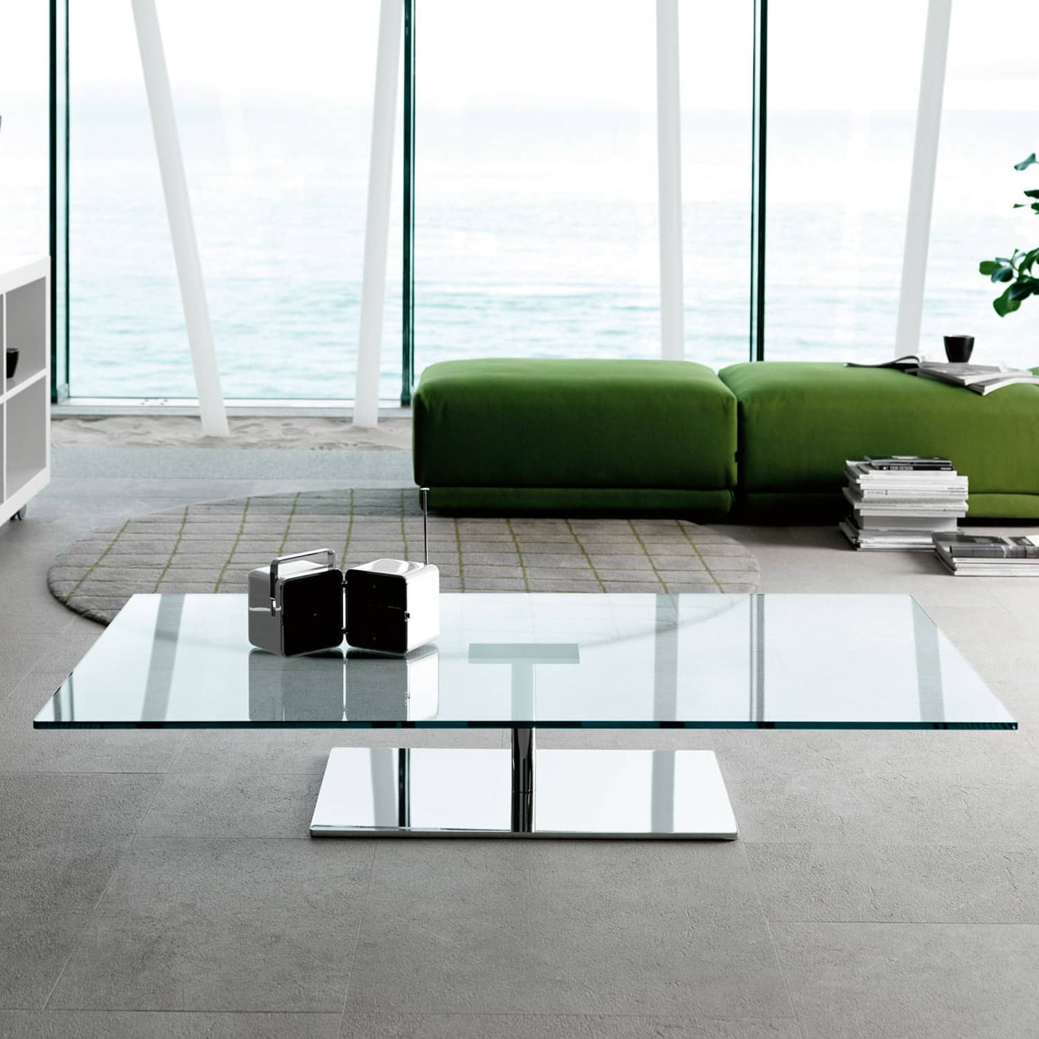 Bespoke Glass Coffee Tables: Farniente Rectangular Glass And Metal Coffee Table By