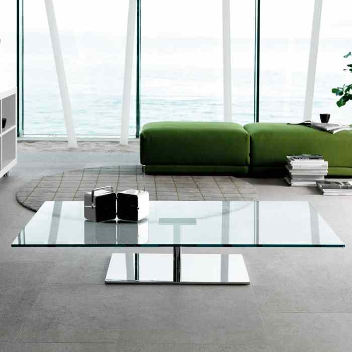 glass and metal rectangle coffee table by tonelli
