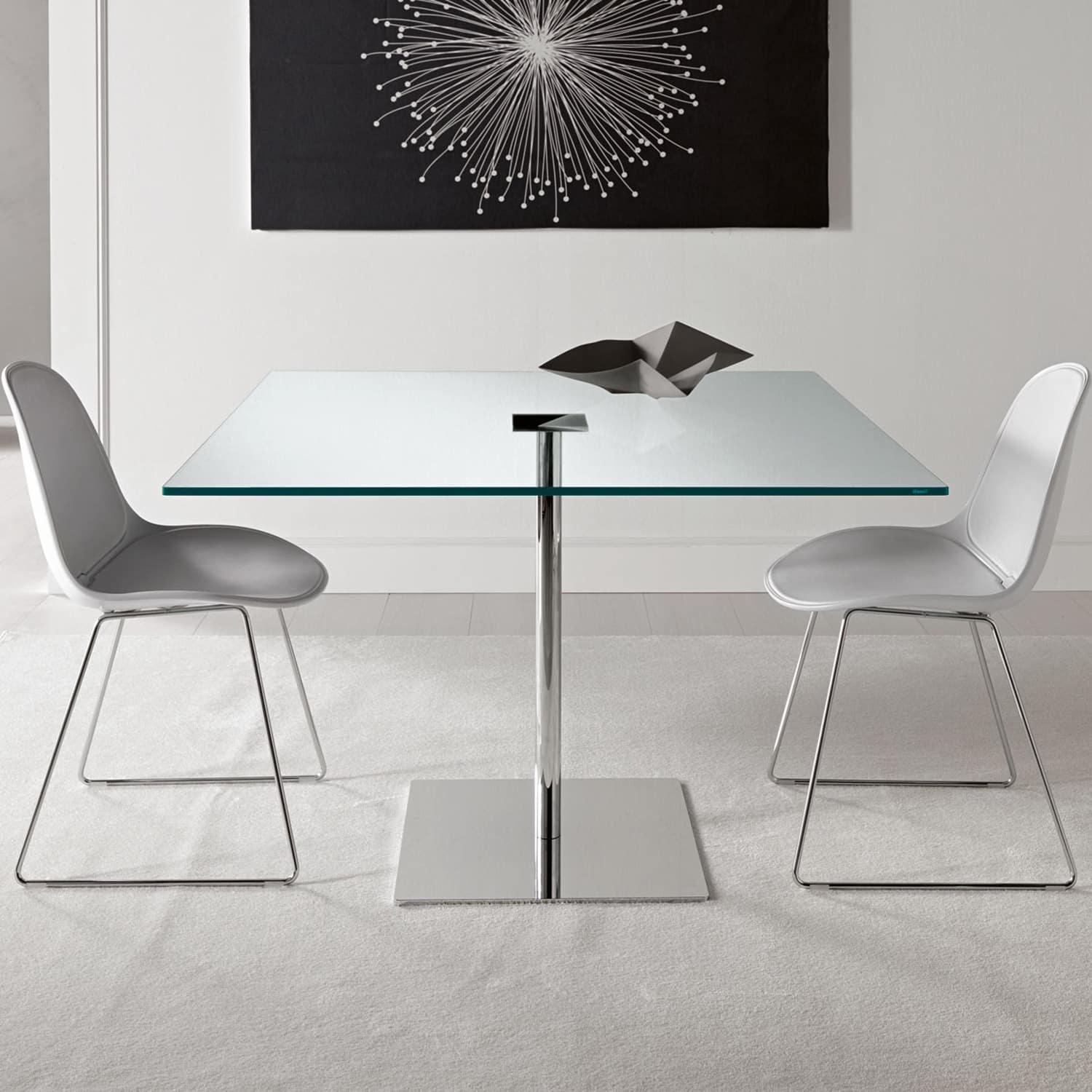 Farniente Square Glass and Metal Dining Table by Tonelli Klarity