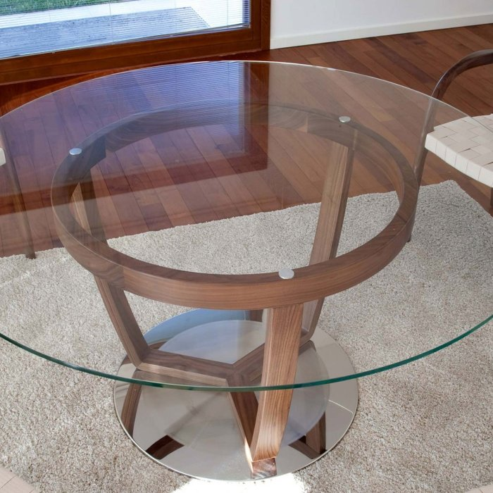 wooden dining table with glass top