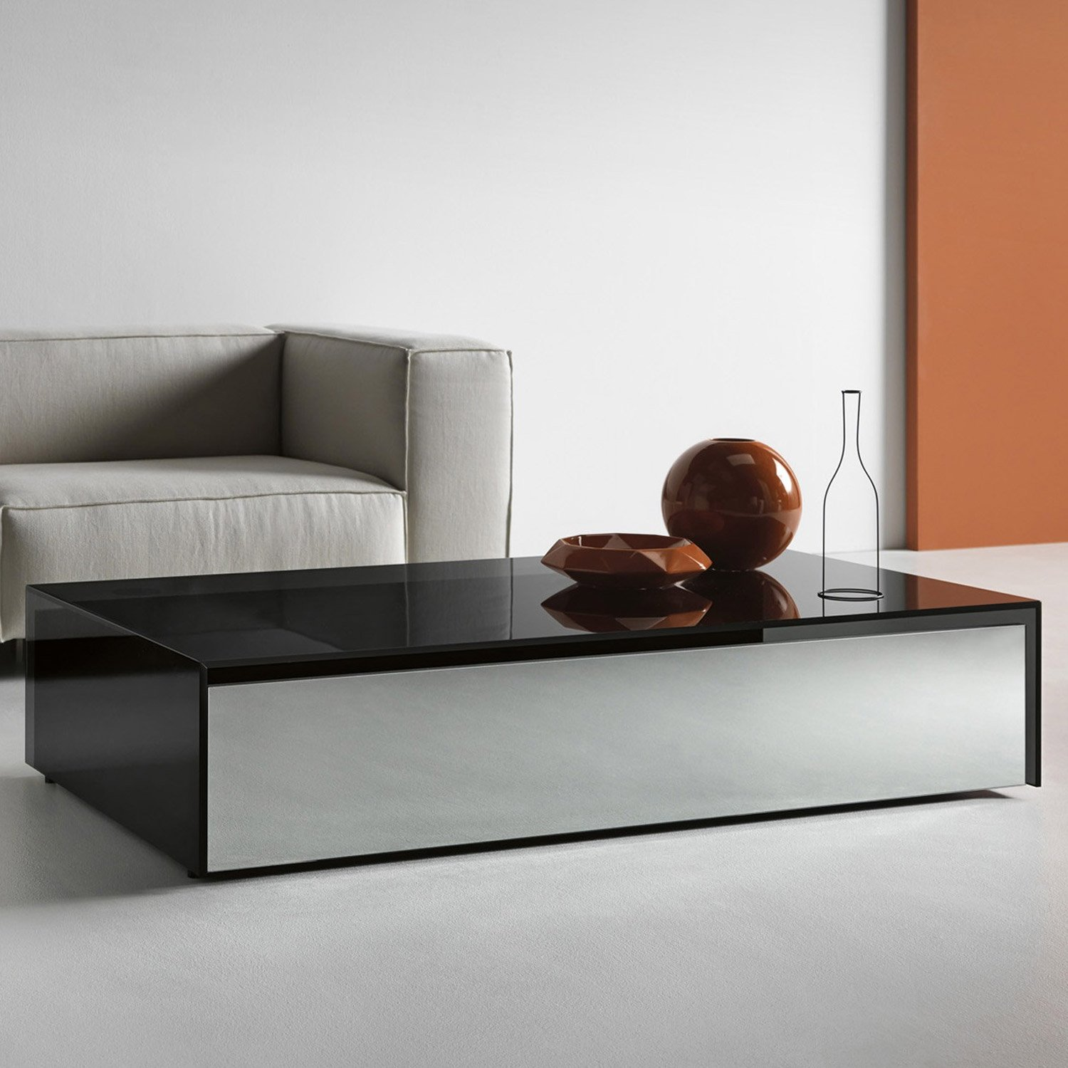 Ghotam Smoked Glass Coffee Table With 1 Drawer