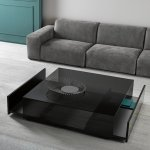 Ghotam Square Smoked Glass Coffee Table With 2 Drawers Klarity Glass Furniture