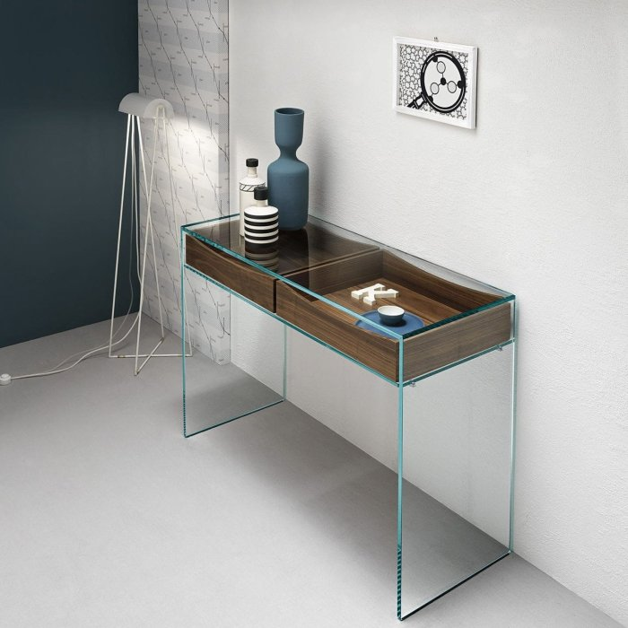 gulliver glass console table with drawer by tonelli