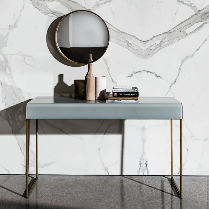nido black glass console table