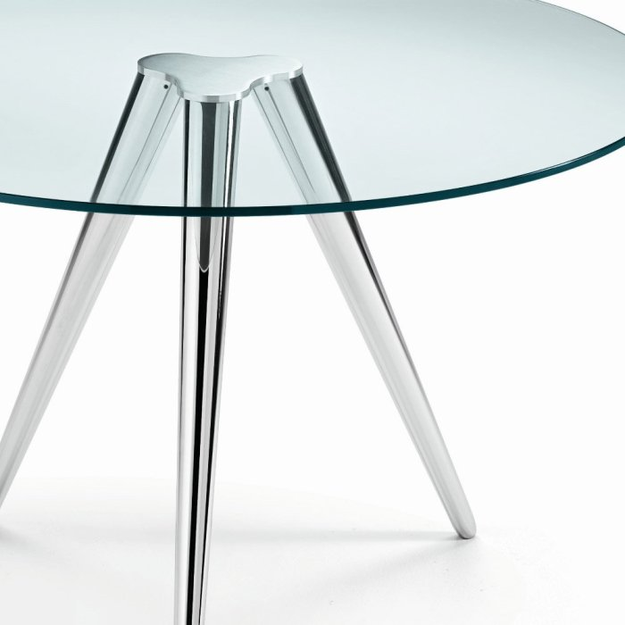 Slim Glass And Metal Dining Table By Sovet Italia Klarity