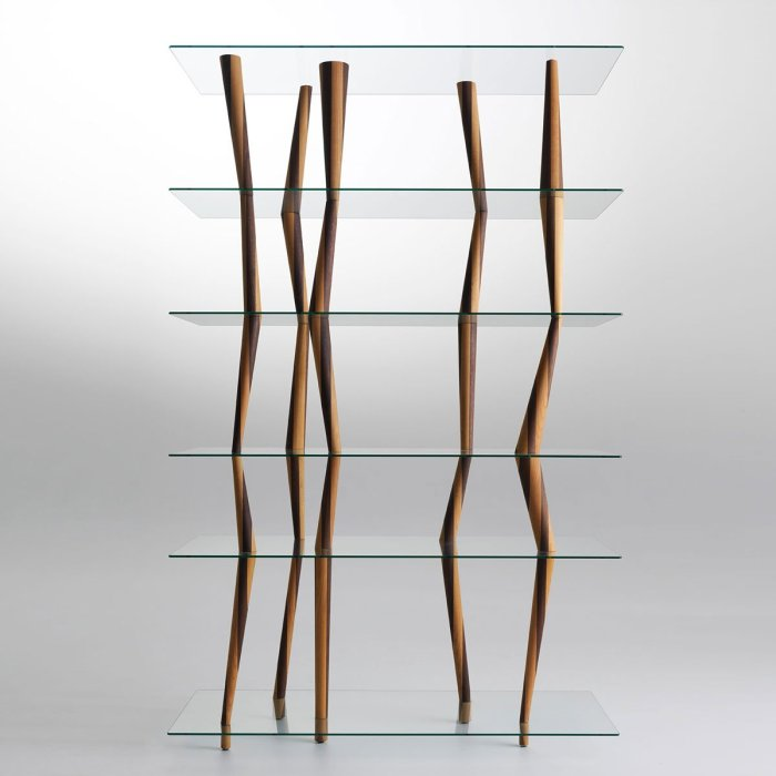 wood and glass book shelf