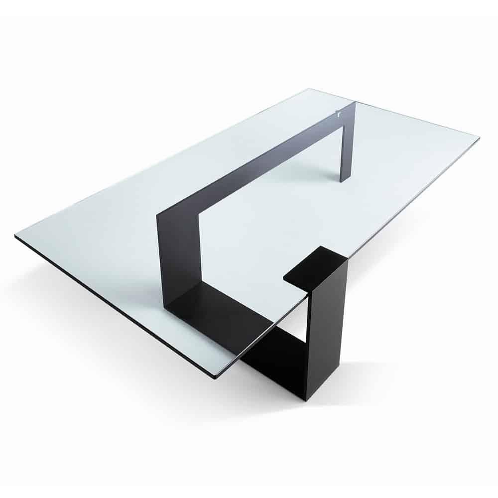 Glass and metal coffee table - plinsky
