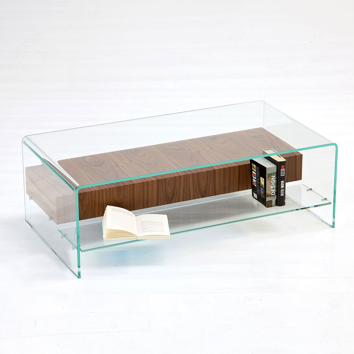 Bridge Glass Coffee Table with Shelf and Drawer - Klarity ...
