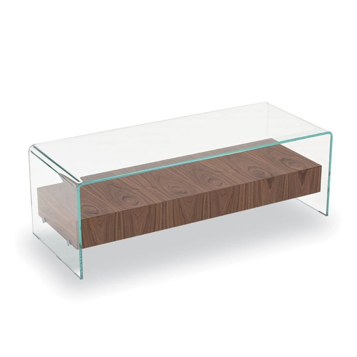 Bridge Glass Coffee Table with Drawer by Sovet Italia