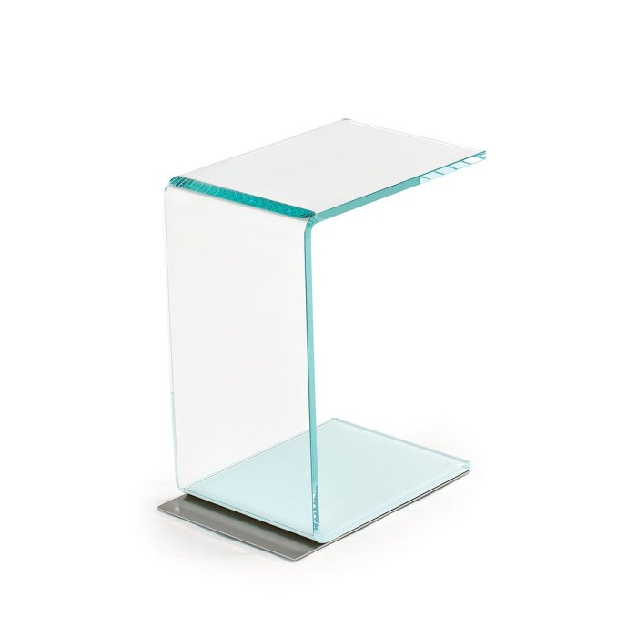 Swan Curved Glass Side Table - (Coloured base) by Sovet Italia