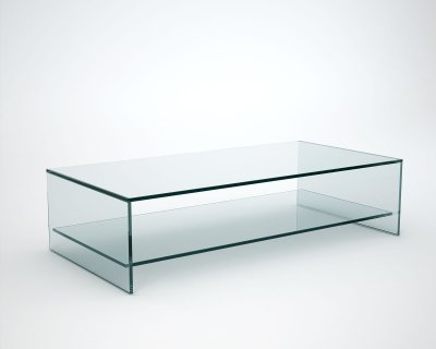 Rectangular glass coffee table with shelf