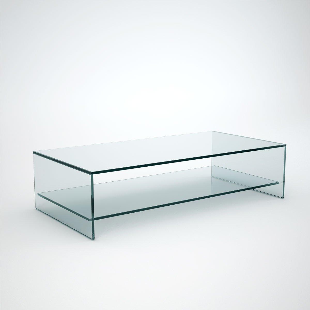 Rectangular Glass Coffee Table With Shelf
