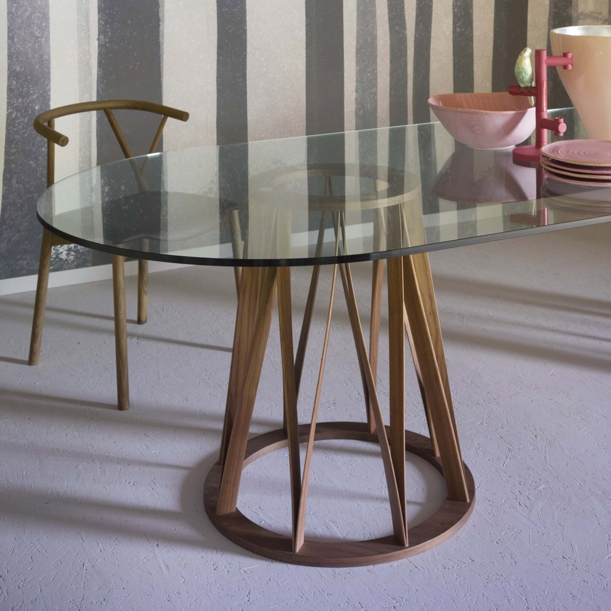 acco large wood and glass dining table - miniforms