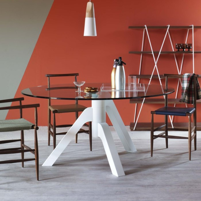 round metal and glass dining table