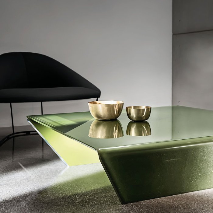 coloued glass coffee table
