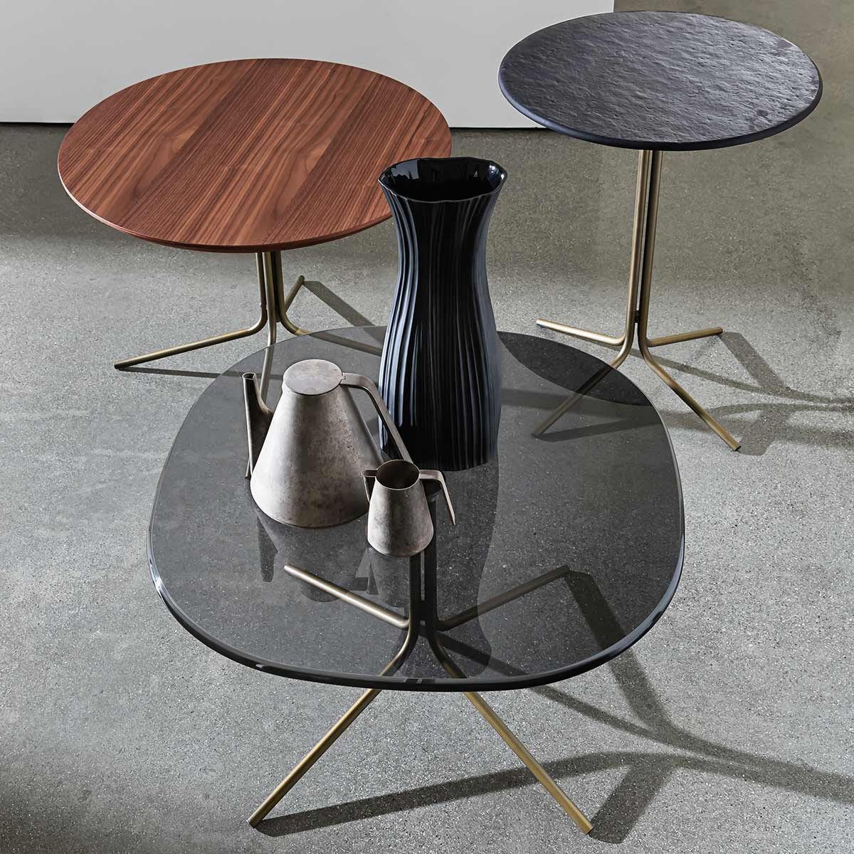 genius brass and glass coffee table