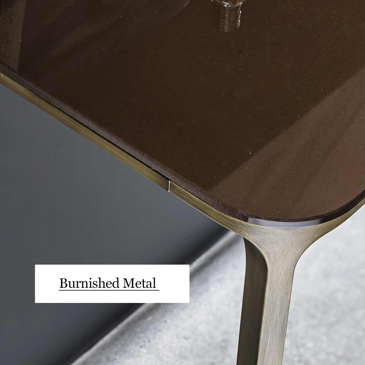 antiqued metal and glass coffee table