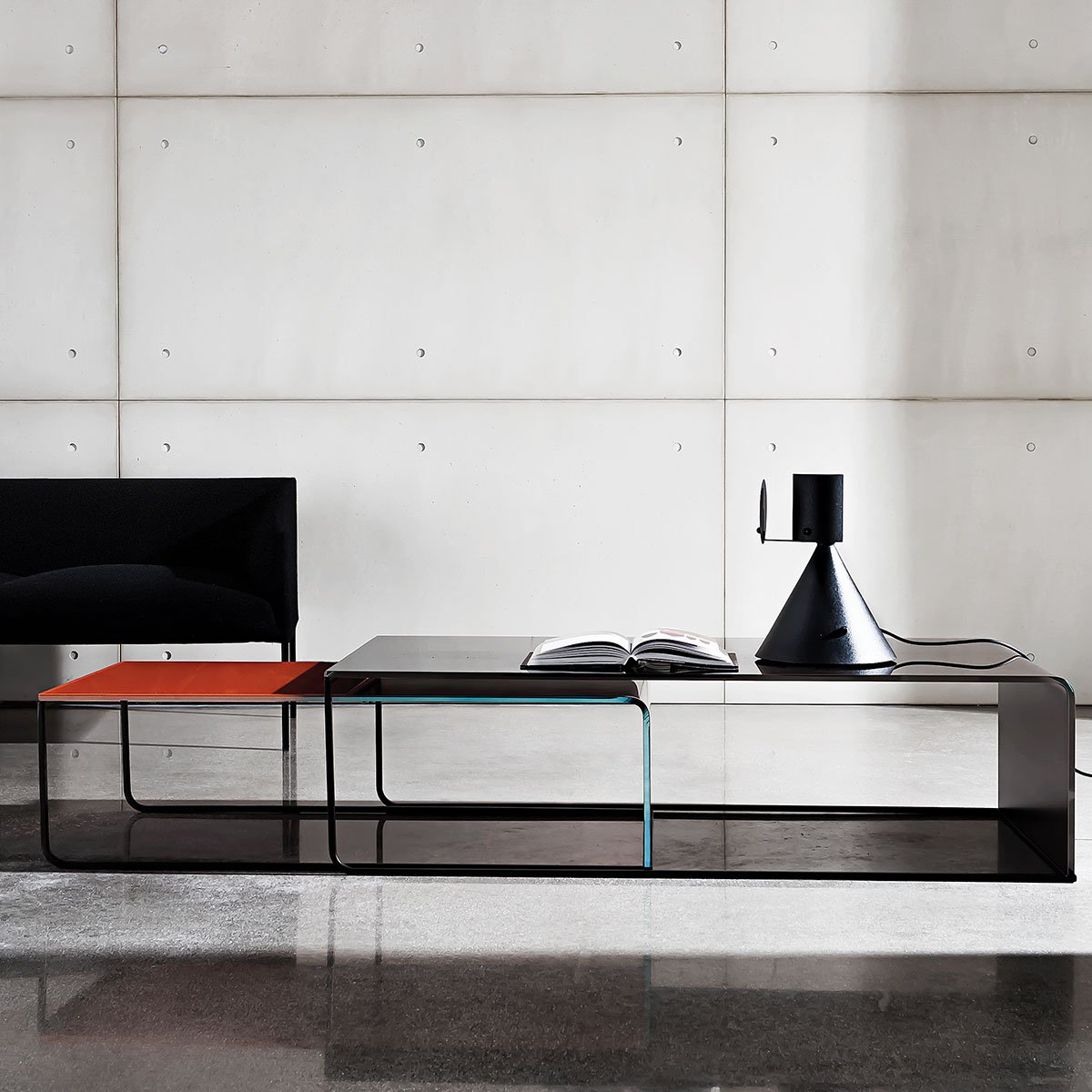 metal and curved glass coffee table