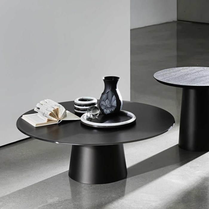 circular glass and metal coffee table