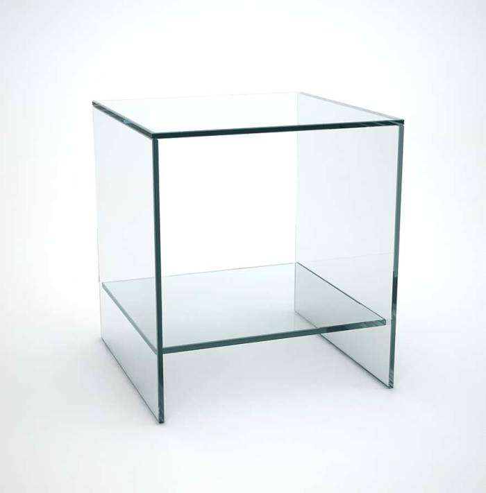 glass sofa side table