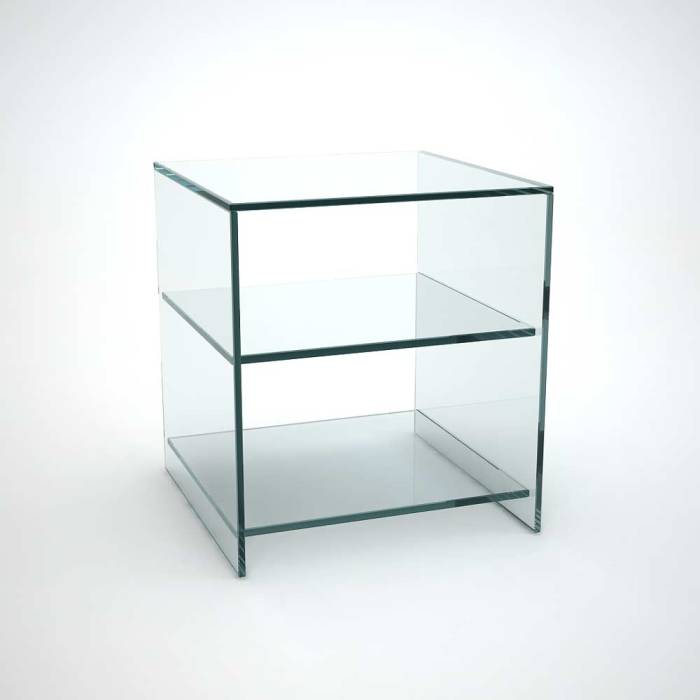 glass side table with shelves