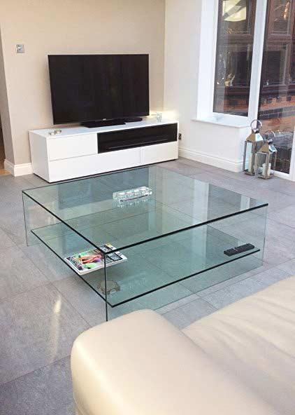 judd glass coffee table with shelf