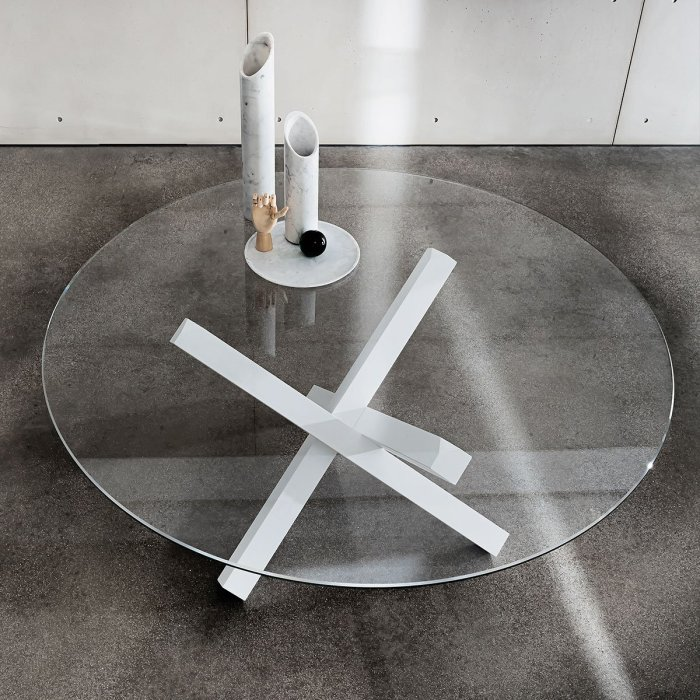sovet italia aikido glass table white base