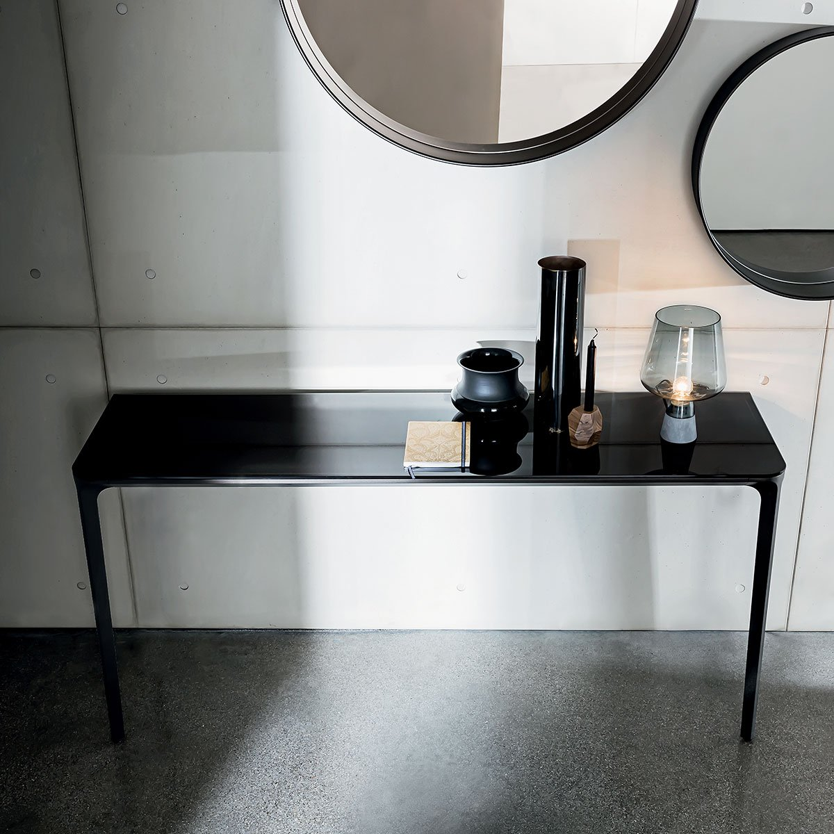 slim console table wall mounted klarity glass furniture. Black Bedroom Furniture Sets. Home Design Ideas