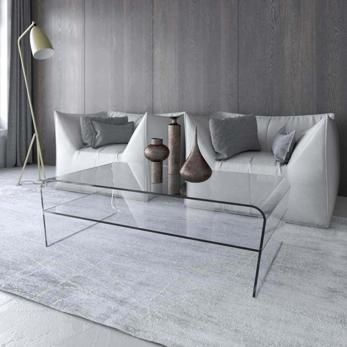 Oblique Curved Glass Table