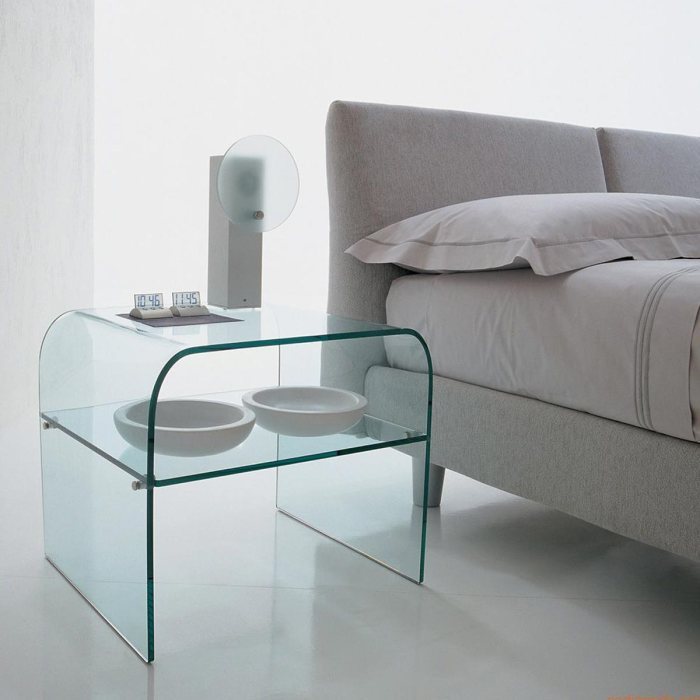 anemone curved glass coffee table