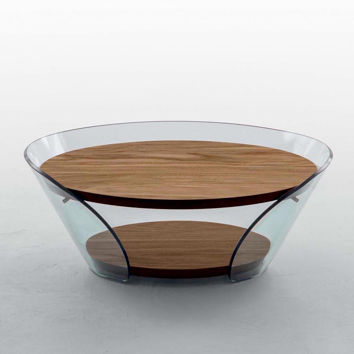 Taky Curved Glass Coffee Table: Raffaello Curved Glass Coffee Table