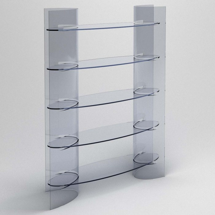 modern glass shelving unit
