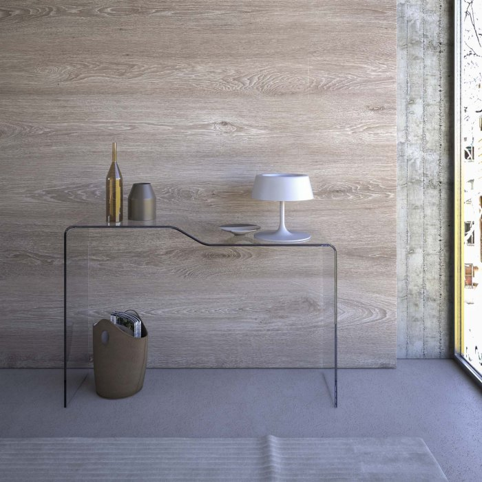 scalino curved glass console table
