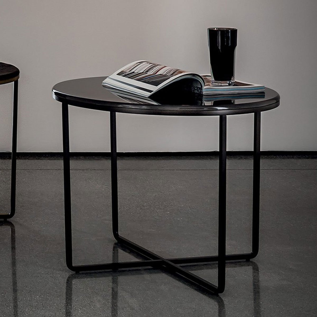 Ascot Round Glass Coffee Table: Piktor Round Glass And Metal Coffee Table