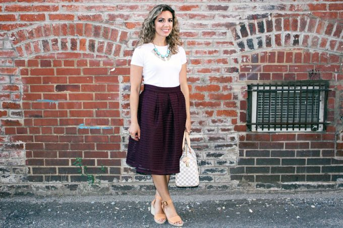 Floriana DC Restaurant Week Burgundy Midi Skirt | Glass of Glam
