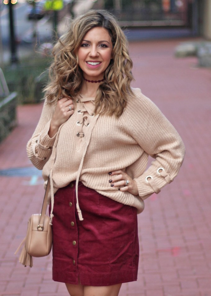 Lace up sweater and a curduroy skirt for the holidays