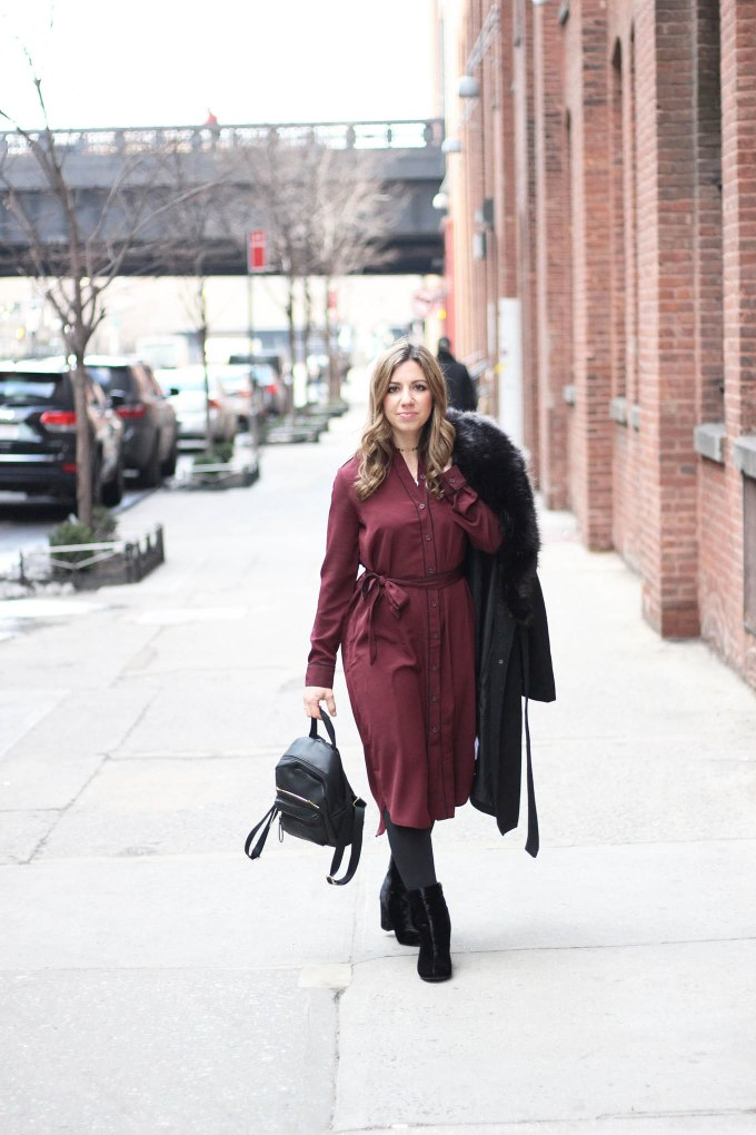 Lifestyle Blogger Roxane Birnbaum of Glass of Glam wearing a Who What Wear for Target Pajama Style Dress, Boohoo faux fur coat, and Justfab Booties and co-hosting Project Sister Act