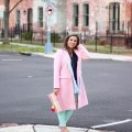 Lifestyle Blogger Roxanne of Glass of Glam wearing a pink Amazon Fashion coat, Stella and Dot necklace, Old Navy denim, Justfab Clutch, and a Jcrew Sweater, talking about ways to be happy today