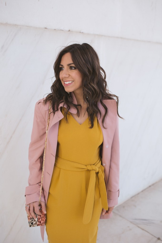 Style Blogger Roxanne of Glass of Glam in Marks & Spencer marigold dress