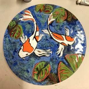 "Glass Art piece - A 9"" glass disc with koi pond"