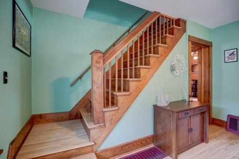 original wood banister