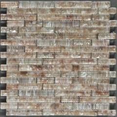 Ocean Pearl Coffee  Random Brick Crystal Glass Tile 1